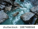 Beautiful stormy mountain river ...