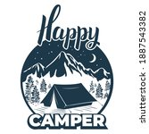 happy camper. camp  tent on the ... | Shutterstock . vector #1887543382