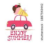 enjoy summer card with cute... | Shutterstock .eps vector #1887543442