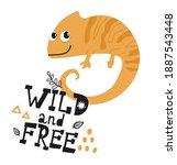 cute chameleon lizard with text ... | Shutterstock .eps vector #1887543448