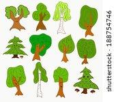cute doodle vector tree set...   Shutterstock .eps vector #188754746