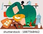 baking  cooking homemade pastry ... | Shutterstock .eps vector #1887568462