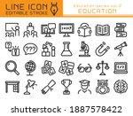 education vector icon set.... | Shutterstock .eps vector #1887578422
