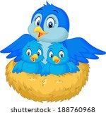 mother bird with her two babies ... | Shutterstock . vector #188760968