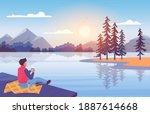 enjoy nature at sunset vector...   Shutterstock .eps vector #1887614668