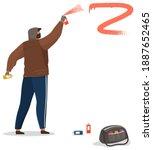 vandal damaging. bully in hood... | Shutterstock .eps vector #1887652465