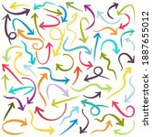 hand drawn multicolored arrows... | Shutterstock . vector #1887655012