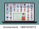online class. students studying ... | Shutterstock . vector #1887655072