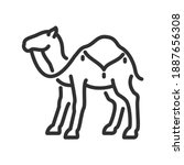 camel with blanket  linear icon.... | Shutterstock .eps vector #1887656308