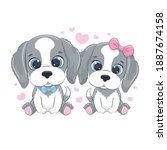 cute little dogs with hearts....   Shutterstock .eps vector #1887674158