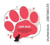 modern graphic cat paw elements ... | Shutterstock .eps vector #1887686155