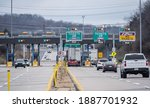 Small photo of Denver, Pennsylvania, USA- January, 4, 2021: Cars and trucks pass through Pennsylvania toll plaza which will now use a cashless system to collect tolls