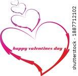 happy valentine's day art word... | Shutterstock .eps vector #1887712102