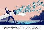 wasting money   businessman... | Shutterstock .eps vector #1887723238