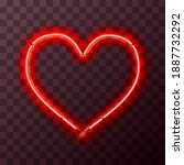 heart shaped bright red neon...   Shutterstock . vector #1887732292