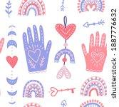 magic hands and love moon... | Shutterstock .eps vector #1887776632