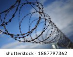 Barbed Razor Wire Fence With...