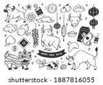 chinese new year doodles  year... | Shutterstock . vector #1887816055