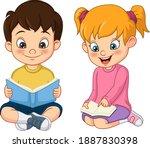 cute little boy and girl... | Shutterstock .eps vector #1887830398