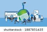 businessman use binoculars for...   Shutterstock .eps vector #1887851635