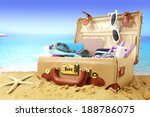 Suitcase Pack On Tropical Beach ...