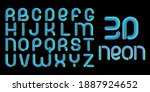 3d glitch effect font. latin... | Shutterstock .eps vector #1887924652