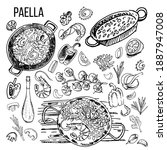 paella  seafood. delicious rice ... | Shutterstock .eps vector #1887947008