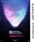 abstract digital human face.... | Shutterstock .eps vector #1887949978