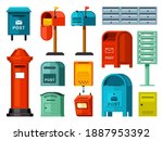 Retro And Modern Mailboxes Set. ...