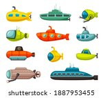 submarines and bathyscaphes set....   Shutterstock .eps vector #1887953455