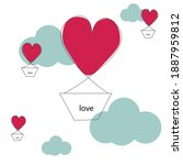 valentine day card with red... | Shutterstock .eps vector #1887959812