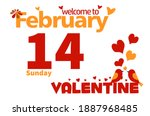 welcome to february with... | Shutterstock .eps vector #1887968485