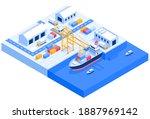 cargo ship transport logistics... | Shutterstock .eps vector #1887969142