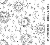 monochrome seamless pattern... | Shutterstock . vector #1888017058
