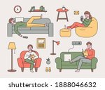 people are resting on various... | Shutterstock .eps vector #1888046632