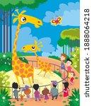 giraffes at the zoo. vector... | Shutterstock .eps vector #1888064218