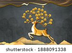 3d Brown Mural Wallpaper . Deer ...