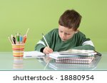 7 years old boy doing his... | Shutterstock . vector #18880954