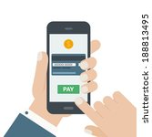 mobile payment flat design hand ... | Shutterstock .eps vector #188813495