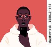 shocked african man looks into... | Shutterstock .eps vector #1888154698