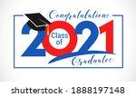 class of 2021 year graduation... | Shutterstock .eps vector #1888197148