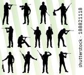 hunter silhouette set vector... | Shutterstock .eps vector #188821118
