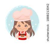 cute girl holding a cupcake... | Shutterstock .eps vector #1888213042