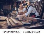Small photo of Woodworking carpenter furniture hand cuting.Man factory industry manufacturer, working workshop, maker construction. Skills artisan workshop factory.