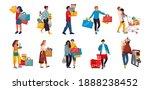 shopping people. trendy cartoon ...   Shutterstock . vector #1888238452