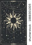tarot card with sun  jewelry... | Shutterstock .eps vector #1888301005