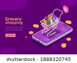 grocery shopping isometric... | Shutterstock .eps vector #1888320745