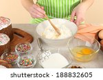 woman preparing easter cake in... | Shutterstock . vector #188832605