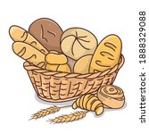 wicker basket with bakery... | Shutterstock .eps vector #1888329088