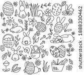 Set Of Easter Doodles Bunnies ...